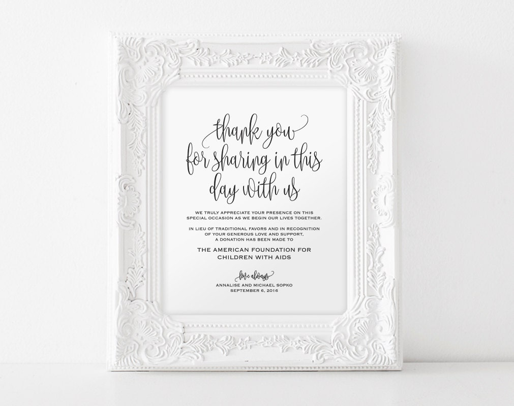 Ideas In Lieu Of Wedding Gifts : Ideas In Lieu Of Gifts Wedding in lieu of favors etsy wedding sign ...