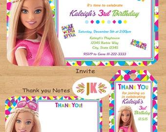 Barbie Printed Birthday Invitations