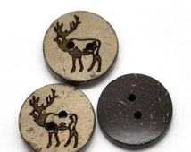 Elk - Deer - Antler - Buttons - Made out of Coconut Shell - Two Hole Buttons - Sewing, Embellishment, Craft