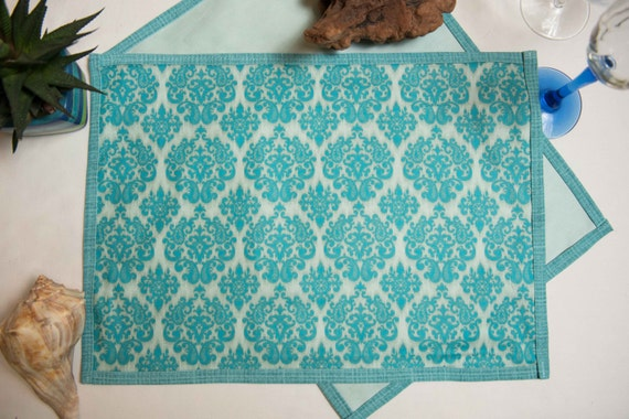 Indoor / Outdoor Handmade Damask Style Placemat Set