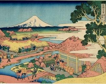 "Japanese Ukiyo-e Woodblock print, Hokusai, ""Tea plantation of Katakura in Suruga Province, from the series Thirty-six Views of Mount Fuji"""