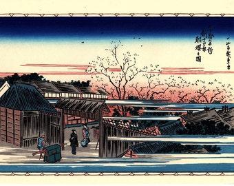 "Japanese Ukiyoe, Woodblock print, antique, Hiroshige, ""Morning Cherry Blossoms in the New Yoshiwara"""