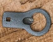 Hand Forged Mosaic Damascus Keychain Bottle Opener