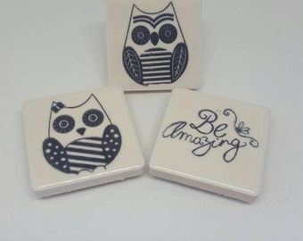 Be Amazing His and Hers Owl Tile Magnet Set Mr & Mrs Newlyweds Hand Stamped Glossy Tile Magnets