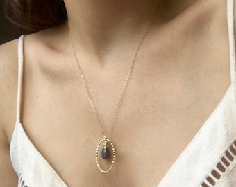 Labradorite Drop in Gold// Blue Flash Labradorite and Gold Hoop Layering Necklace