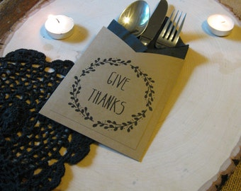 Give Thanks Utensil Holders ~ Fall Fork, Knife, Spoon Holders ~ Silverware Holders ~ Napkin Holders ~ Thanksgiving Tablescape Fall Decor