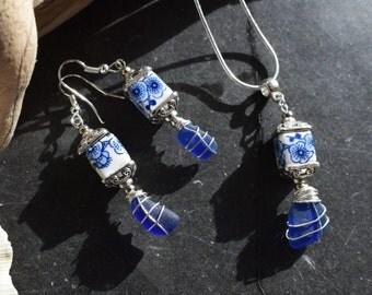 Rare Blue Seaglass Jewellery set.