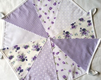 9ft / 2.75m Vintage Purple Floral Gingham Mix Bunting Pennant Garland: Shabby Chic Unisex Christening Weddings Fetes All Party Occasions