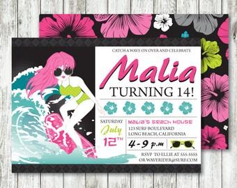 Surf 'Neon Surfer Girl' *Digital Printable Invitation *EVENT Options