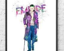 Joker Watercolor Print, Superhero Art, Movie Poster, DC Comic Book, Suicide Squad, Wall Art, Home Decor, Kids Room Decor, Nursery - 521