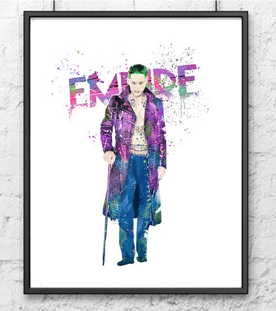 Joker Watercolor Print Superhero Art Movie Poster By