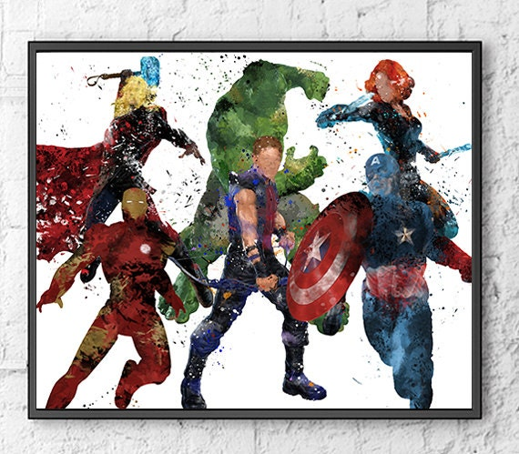 Avengers Watercolor: Avengers Watercolor Print Movie Poster Hulk Iron By