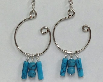 Turquite Gemstone Silver Open Hoop Earrings