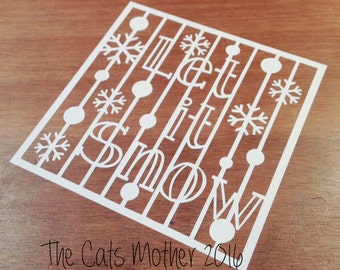 Let It Snow Christmas Themed Paper Cutting Template - Commercial Use