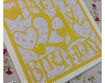21st Birthday Hearts Paper Cutting Template - Commercial Use