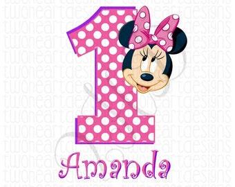Pink Mouse Birthday Polka Dot Iron On - Digital - You Print