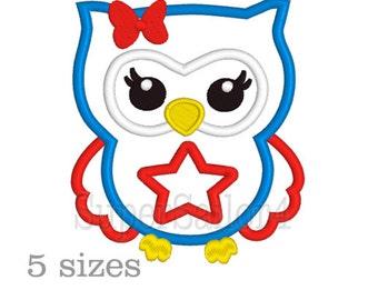 Owl applique design, patriotic applique design, 4th july applique design