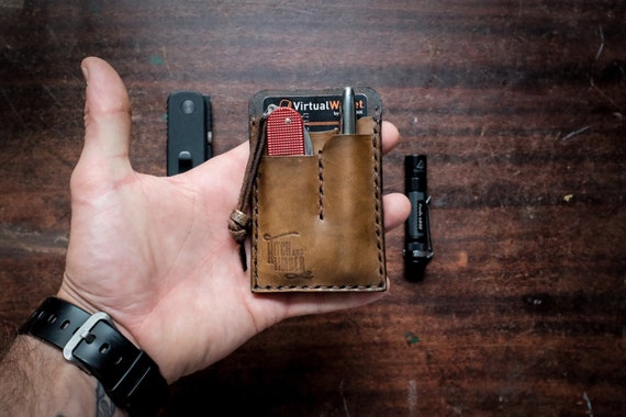 Brown Edc Card Caddy Leather Card Wallet For By Hitchandtimber