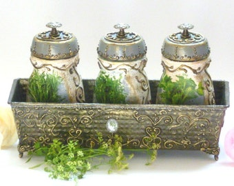 Canisters, Kitchen Canisters and Kitchen Stand, Vintage Canisters and Storage,  Hand Painted Kitchen Set with Golden relievo, Kitchen Storag