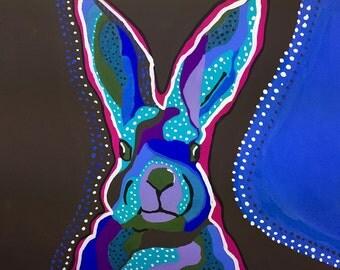 Blue Rabbit Gouache Painting, Blue Rabbit Portrait Painting, Rabbit Painting, Rabbit Art