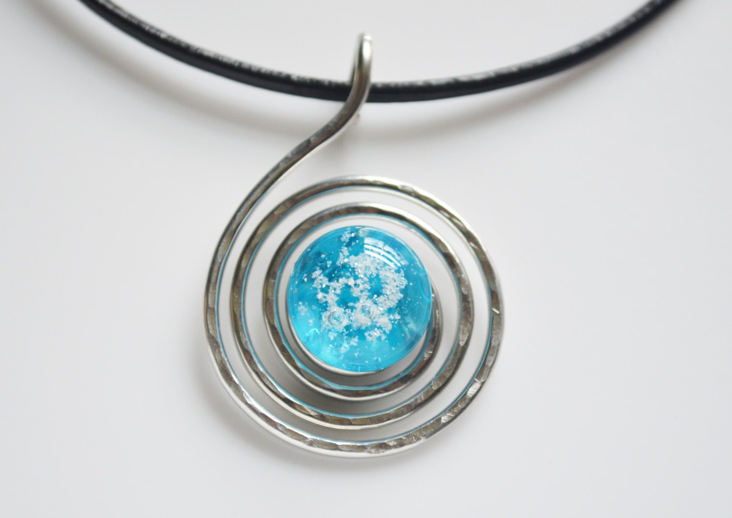 Pet cremation jewelry ash necklace fused glass and hammered for Cremation jewelry for pets ashes