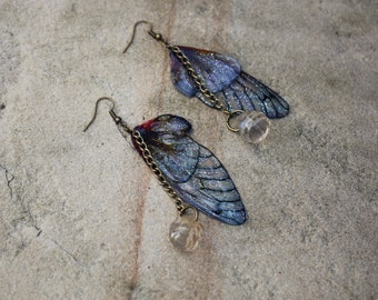 Utterly Delicate Blue Fairy Wing Earrings
