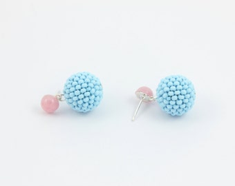 Pink and Blue Earrings, Seed Bead Earrings with Handcrafted Beaded Beads and Vintage Cabochons  by Detail London.