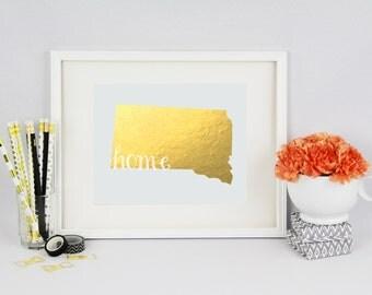 """South Dakota """"Home"""" State Foil Prints"""