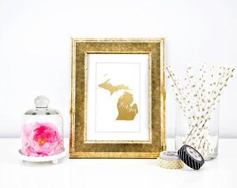 Real Foil State Prints // Michigan State 5x7 // Michigan Foil Print // Home State Prints