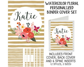 Watercolor Floral Printable Binder Cover Set with Front & Back Covers and Spine inserts - Personalized- Dress up Your Three Ring Binder!