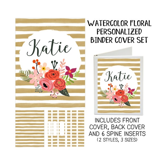 Watercolor Floral Printable Binder Cover Set With Front Amp Back