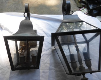 Two brass Carriage porch portico lights