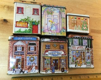 Vintage Tea Tins Decorative Houses Collectible Displays