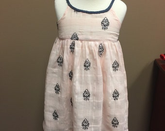 Soft pink with navy embroidery design in stock ready to ship!