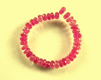 "Pink sapphire faceted rondelle beads AAA 3-4mm 3"" strand"
