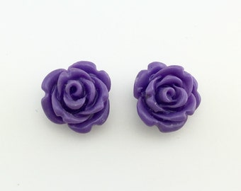 Rose carved earrings - Semi Precious stone, Purple agate stone, bead agate, flower earrings, rose flower stone, natural stone, gift for her
