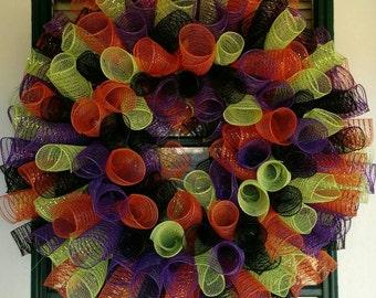 Halloween Spiral Mesh Wreath