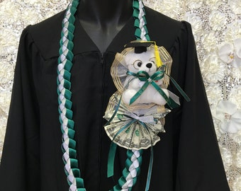 personalized graduations money/ white bear lei with your school color & graduate name
