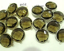 Wholesale 50pcs 8-25mm Crystal Glass Gem Brass fram Plated round coin Faceted smoky topaz clear white teal blue assortment -1-2 loop