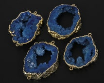 Large Craft Jewelry,Natural Blue Druzy Geode Slab Connectors Necklace,Raw Drusy Agate Plated Gold Bail Link Slice Bracelet Supplies,more pcs