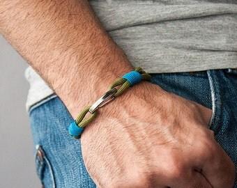 Sailor Bracelet men-Women, men's jewelry, moss olive drab blue bracelet, women's jewelry, birthday gift, bracelet he and she