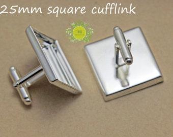 20 Cufflink Blank Square-Silver Plated Cuff Link Tray-25mm French Cufflink Blanks-Cufflink Findings-Silver Cufflink with 25mm square setting
