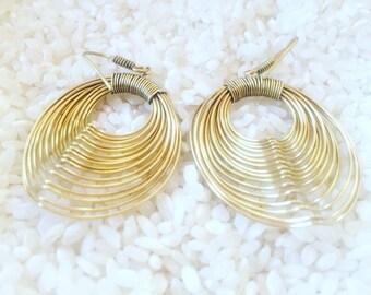 Dangle wire delicate earrings, brass earrings, boho earrings, gold earrings, gypsy earrings,christmas earrings, gift earrings.