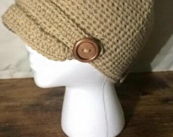 Newsboy Crochet Hat, Adult Crochet Hat, Adult Newsboy Hat, Adult Hat with Brim, Adult Button Hat, Newboy Hat, Crochet Hat, Adult Winter Hat