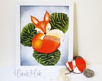 Fox Acrylic painting, canvas art, Folk Art Painting, wall hanging with white frame.
