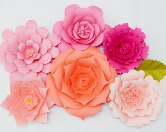 Large Paper Flowers, Set of 6, Wall Decor, Event Decor
