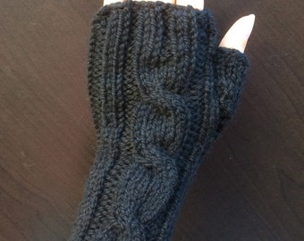One Cable Fingerless Gloves/Hand Warmers/Manicure Gloves (Black)