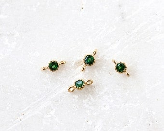 2144 Green gold connector CZ 3.5mm Cubic zirconia connector Round brass connector Gold plated connector Korea jewelry findings 2 psc.