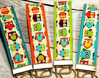 Owl Key Fob, Fabric Keychain, Key Holder, Keychain Wristlet, Key Fob With Owls, Fabric Key Chain, Lanyard, Teacher, Key Fob With Owls