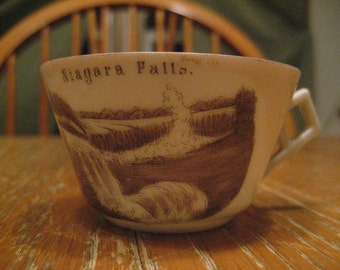 Antique Niagara Falls Souvenir Tea Cup, Chocolate Cup Karlsbad Germany Fine China, Rare 1800's